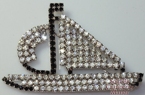 Crystal & Black Diamond Rhinestone Nautical Sail Boat Brooch Vintage 1980s Fashion Jewelry Gift