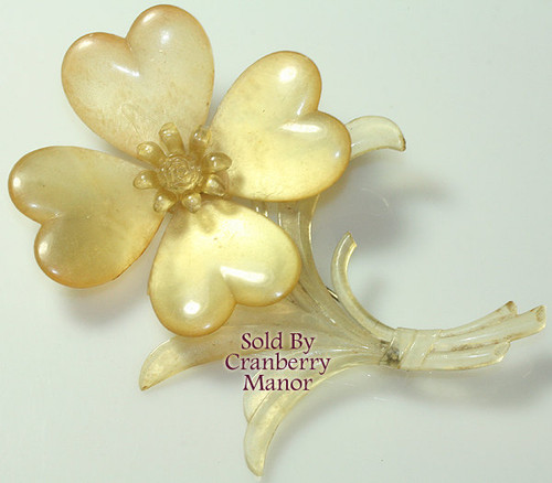 Pearlescent Moonglow Celluloid Flower Brooch Vintage 1920s Fashion Jewelry Gift