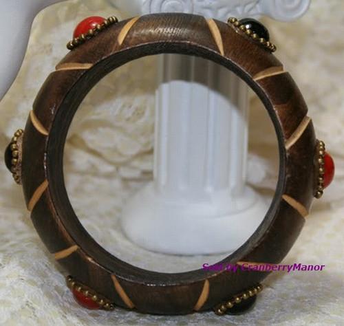 Wood & Glass Carved BOHO Bohemian Coral Cuff  Bracelet Vintage 1980s Fashion Jewelry Gift