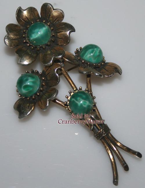 Green Moonstone & Rhinestone Retro Brooch Vintage Mid Century 1940s Fashion Jewelry Gift