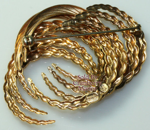 Rolled Gold Wrapped & Braided Freeform Abstract Brooch in 10/000 (241) Vintage Mid Century 1970s Designer Fashion Fine Jewelry Gift