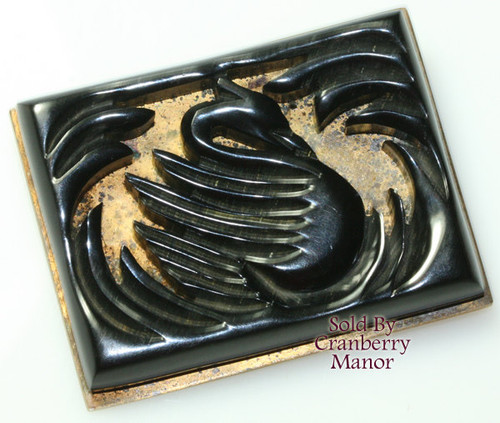 Black Bakelite Swan Brooch on Gold Vintage 1930s Depression Era Fashion Jewelry Gift