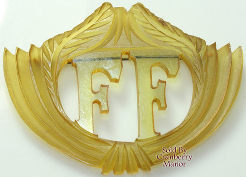 Carved FF Monogram Shield Apple Juice Bakelite Brooch Vintage 1930s Depression Era Fashion Jewelry Gift