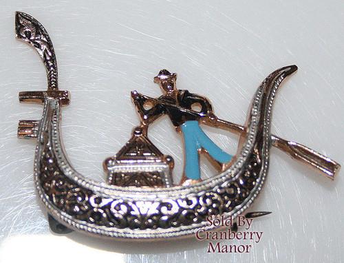 Damascene Blue Enamel Gondola Boat w/ Sailor Brooch Vintage 1980s Fashion Jewelry Gift