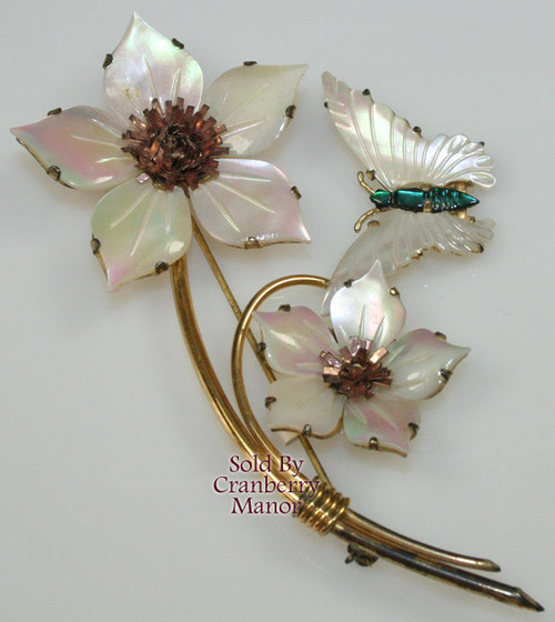 Ocean Treasures Mother of Pearl, 12K Gold Vermeil & Sterling Silver Flower & Butterfly Brooch Vintage Mid Century 1960s Designer Fashion Jewelry