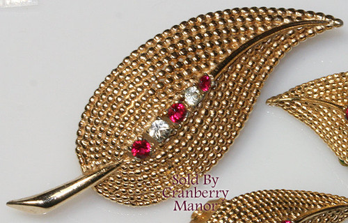 Ruby Red Rhinestone Brooch & Earrings by Boucher Vintage Mid Century 1960s Couture Fashion Designer Jewelry Gift