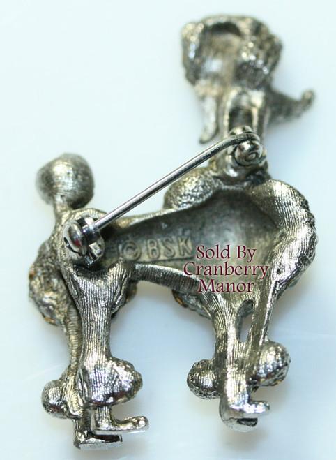 Silver & Crystal Rhinestone Poodle Puppy Dog Brooch by BSK Vintage 1970s Designer Fashion Jewelry Gift