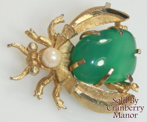 BSK Glass & Pearl Beetle Brooch Vintage 1970s Designer Fashion Jewelry Gift