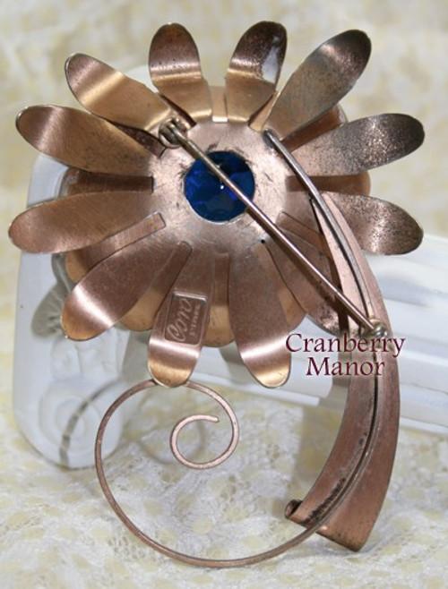 Coro Sterling Silver & Sapphire Rhinestone Retro Brooch Vintage Mid Century 1940s Designer Fashion Jewelry Gift