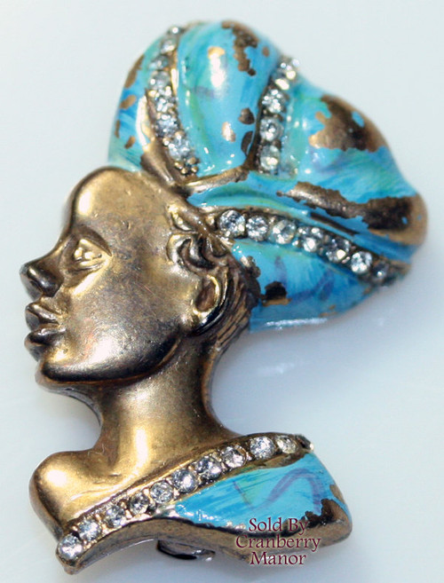 Coro Blackamoor Princess Enameled Rhinestone Brooch Depression Era Black Americana Figural Pin Vintage 1930s Designer Fashion Jewelry Gift