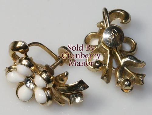 Coro Rhinestone & Milk Glass Earrings on Gold Vintage Mid Century 1950s Designer Fashion Jewelry Gift
