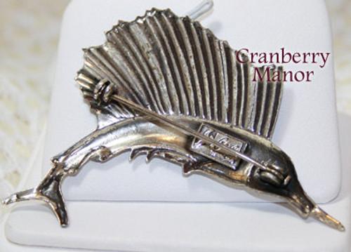 Coro Pegasus Sterling Silver Marlin Fish Brooch Vintage Mid Century 1940s Designer Fashion Jewelry Gift