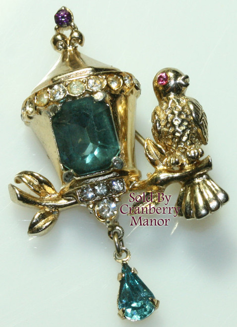 Coro Rhinestone Lamp Light & Bird Brooch Vintage Mid Century 1940s Designer Fashion Jewelry Gift HTF