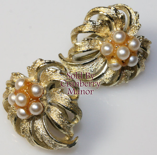 Coro Pearl & Gold Earrings Vintage Mid Century 1950s Designer Fashion Jewelry Gift