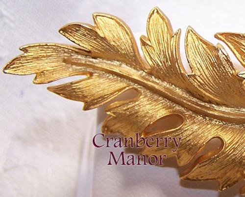 Coro Gold Leaf Brooch Vintage Mid Century 1960s Designer Fashion Jewelry Gift