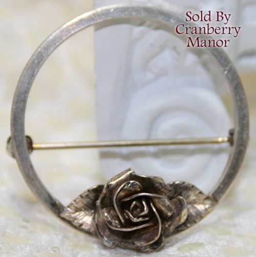 Sterling Silver Rose Brooch by Coro Vintage Mid Century 1940s Designer Fashion Fine Jewelry Gift