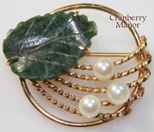 Carved Jade & Pearl Brooch by CC Curtis Creations Uncas 12K Gold Filled Vintage 1950s Mid Century Designer Fashion Jewelry Gift