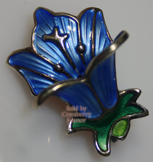 David Andersen Sterling Silver Bluebell Guilloche Brooch from Norway Vintage 1970s Designer Fashion Jewelry Gift