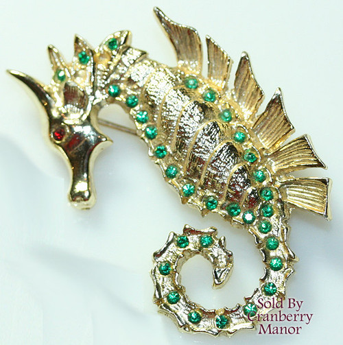 Dodds Ruby & Emerald Rhinestone Seahorse Brooch Vintage Mid Century 1960s 11 W 30Th Street Designer Fashion Jewelry Gift
