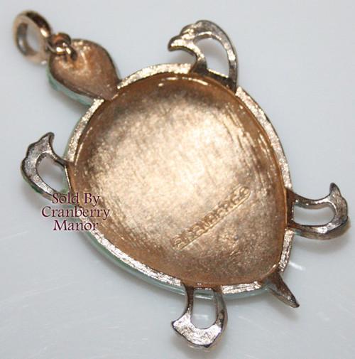 Eisenberg Green Enameled Boho Turtle / Tortoise Pendant Necklace Vintage 1970s Designer Fashion Jewelry Gift