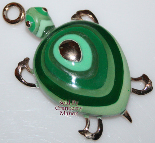 Eisenberg Green Enameled Boho Turtle / Tortoise Pendant Necklace Vintage 1970s Designer Fashion Jewelry Gift