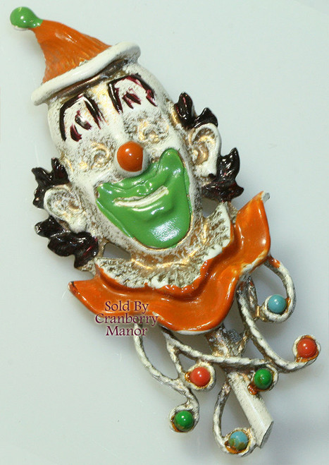 Florenza French White Enameled Carnival Circus Clown Brooch Vintage Mid Century 1960s Designer Fashion Jewelry Gift