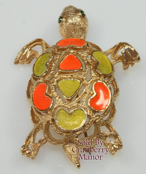 Florenza Orange & Yellow Enameled Turtle /Tortoise Brooch Vintage 1970s Designer Fashion Sea Ocean Beach Jewelry Gift