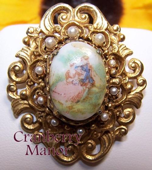 Florenza Pearl Victorian Transferware Cameo Brooch Gold Vintage 1970s Designer Fashion Jewelry Gift