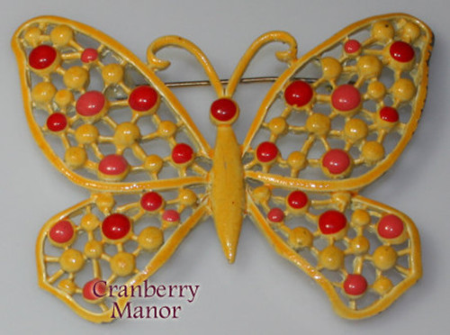 Hedison Orange Enamel Cast Butterfly Brooch Vintage 1970s Designer Fashion Enameled Jewelry Gift