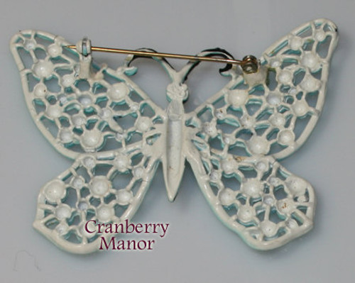 Hedison Blue Enamel Cast Butterfly Brooch Vintage 1970s Designer Fashion Enameled Jewelry Gift