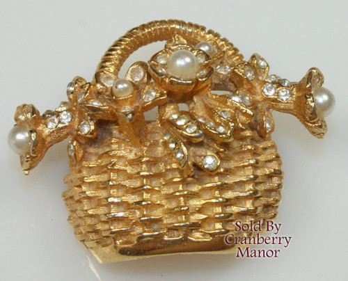 Hobe Gold Basket Pearl & Rhinestone Brooch Vintage 1970s Designer Fashion Jewelry Gift