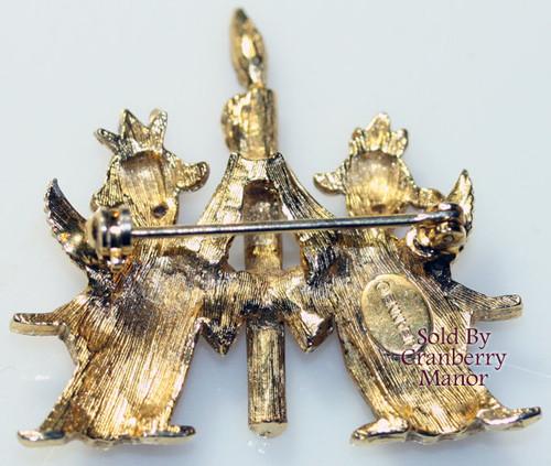 Jeanne Ruby Red Crystal Rhinestone Angel Brooch Vintage Mid Century 1960s Designer Fashion Jewelry Gift
