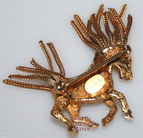 Jeanne Horse Brooch w/ Tassel Mane Vintage Mid Century 1960s Designer Fashion Jewelry Gift