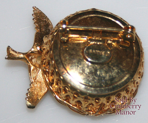 Jeanne Pearl Bird Nest w/ Egg Brooch Vintage Mid Century 1960s Spun Wire Designer Fashion Jewelry Gift