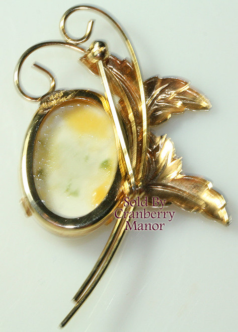 JJJ Milk Glass Brooch in 12K GF Gold Filled Vintage Mid Century Mod 1960s Designer Fashion Jewelry Gift
