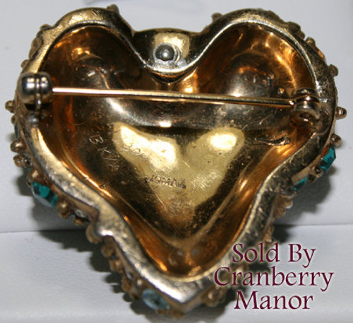 Jomaz Mazer Bros Rhinestone Heart Brooch Vintage Mid Century 1940s Designer Fashion Jewelry Gift