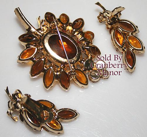 Juliana Topaz Rhinestone Leaf Brooch & Earrings Vintage D&E Delizza Elster Mid Century 1960s Designer Fashion Jewelry Gift