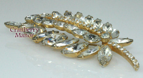 Juliana Crystal Rhinestone Brooch on Gold Vintage D&E Delizza Elster Mid Century 1960s Fashion Designer Jewelry Gift