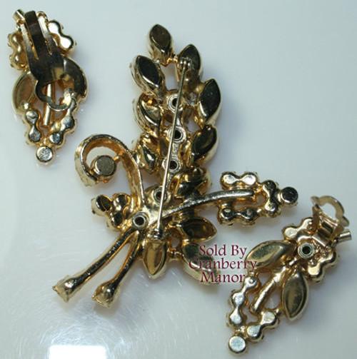 Juliana Topaz Rhinestone Brooch & Earrings Demi Parure Vintage D&E DeLizza Elster Mid Century 1960s Designer Fashion Jewelry Gift