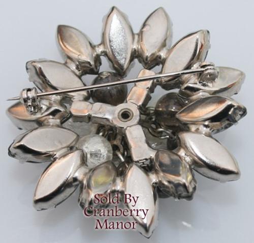 Juliana Crackle Glass Beaded Rhinestone Brooch Vintage Mid Century 1950s D&E DeLizza Elster Designer Fashion Jewelry Gift