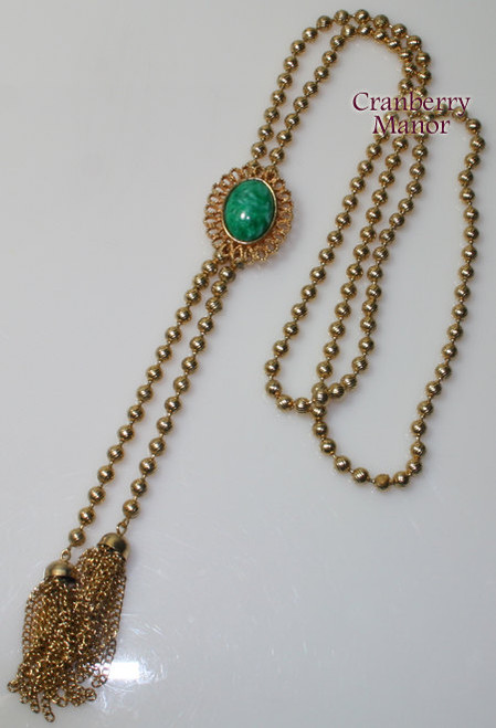 Juliana Necklace for Avon Green Beaded Tassel Flapper Bolo Tie Vintage 1980s Totally 80s D&E DeLizza Elster Designer Fashion Jewelry Gift