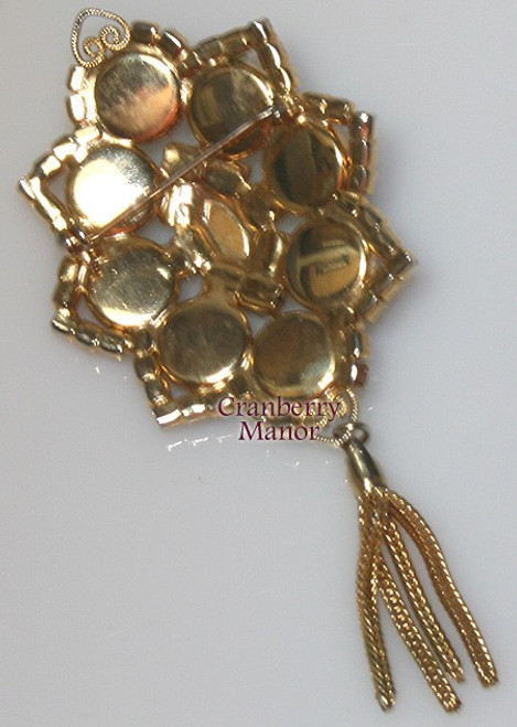 Juliana Studio Girl Ruby Red Rhinestone Brooch Pendant Choker Necklace Vintage Mid Century 1960 Delizza Elster Designer Fashion Jewelry Gift
