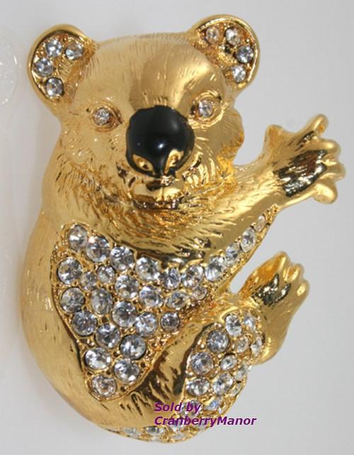 Kenneth J Lane KJL Koala Bear Rhinestone Enamel Brooch Vintage Designer Fashion Jewelry Gift