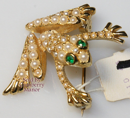 Neiman Marcus Pearl & Emerald Green Rhinestone Frog / Toad Brooch from England Vintage 1980s Designer Fashion Jewelry Gift