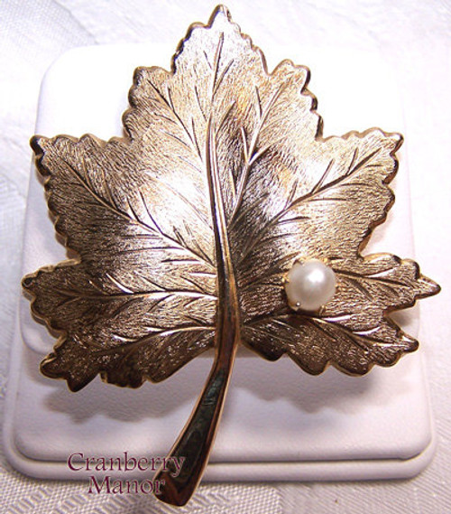 Sarah Coventry Whispering Leaf Pearl Brooch Vintage Mid Century 1960s Designer Fashion Jewelry Gift
