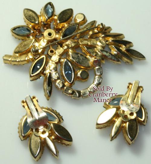 Schreiner Sapphire Blue Rhinestone Brooch & Earrings Vintage Mid Century 1960s Designer Fashion Jewelry Gift