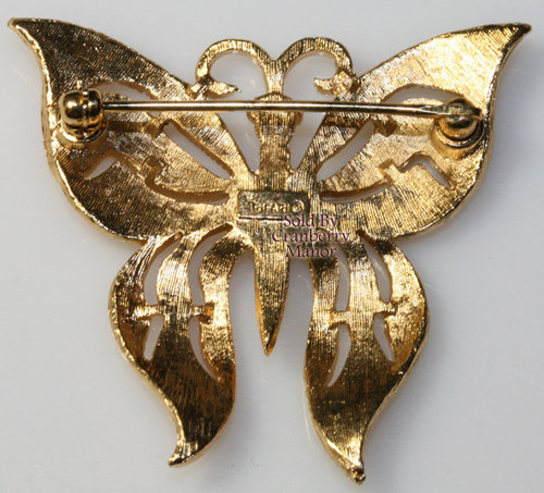 Crown Trifari Gold Butterfly Brooch Vintage Mid Century 1960s Designer Fashion Jewelry Gift