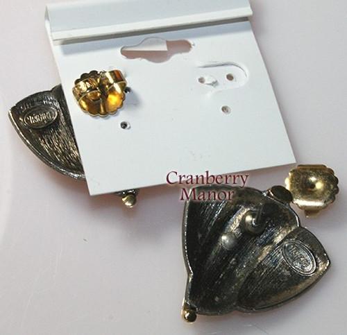 Trifari Hematite Earrings on Original Card Vintage 1980s Totally 80s Designer Fashion Jewelry Gift