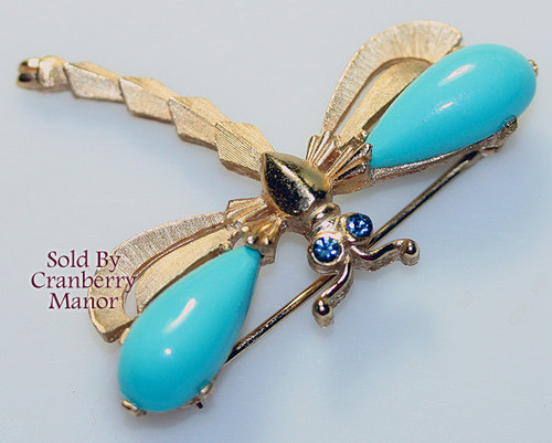 Trifari Rhinestone Thermoset Blue Dragonfly Brooch Vintage Mid Century 1960s Designer Fashion Jewelry Gift