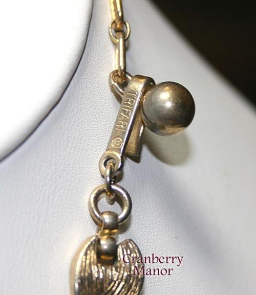 Trifari Eames Era Gold Geometric Modernist Necklace Vintage Mid Century Mod 1960s Designer Fashion Jewelry Gift
